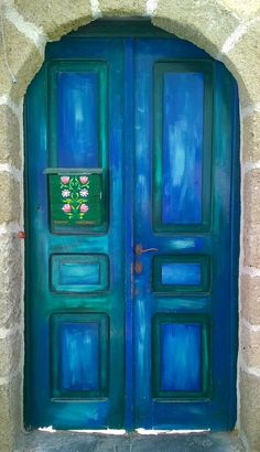 This blue and green combo! With the neutral frame around it.  Gorgeous. Rhodes, Greece