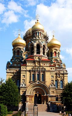Very ornate Karosta Orthodox Church, Liepaja, Latvia.  Highly embellished and absolutely beautiful.