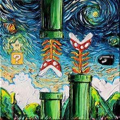 Super Mario Art - Nintendo Starry Night print van Gogh Never Became Invincible by Aja DIGITAL DOWNLOAD by SagittariusGallery on Etsy https://www.etsy.com/listing/400507019/super-mario-art-nintendo-starry-night