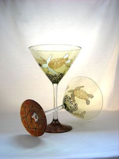 Turtle Martini Glasses Hand Painted Glassware