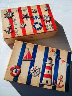 Denizci temalı yağlı boya eskitme hamur kabartma ahşap boyama kutu, painted wooden box with 3D decoupage