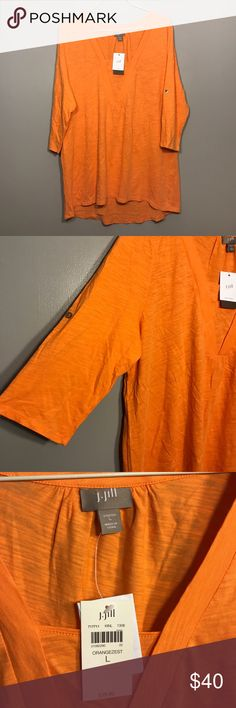 """[J. Jill] Orange Zest V Neck Tunic J. Jill Bright Orange """"Orange Zest"""" V Neck Tunic. Sleeves can be rolled and secured with buttons or unrolled. Oversized Fit. Super Cute! Perfect Condition. Brand New With Tags. No Flaws, Never Worn. Size Large. Bust-21"""" Length-30"""" J. Jill Tops Tees - Short Sleeve"""