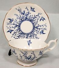 COALPORT BLUE BIRDS & TREES BONE CHINA CUP & SAUCER FOOTED MINT!              T!