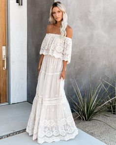 Beige Flower Child Off The Shoulder Lace Maxi Dress Gray Pink Elegant Maxi Dress, White Maxi Dresses, Chic Dress, Maternity Dresses, White Lace Maternity Dress, Elegant White Dress, White Boho Dress, Hippie Style, Maxi Robes