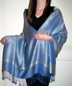 Silver & Blue Pashmina Paisley Heaven - Silk pashmina shawls are perfect for spring shawls. Featuring Pashmina shawls from India / Nepal and paisley shawls in many colors.