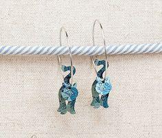 Cat Jingle Jangle Earrings Blue Leaf Pattern