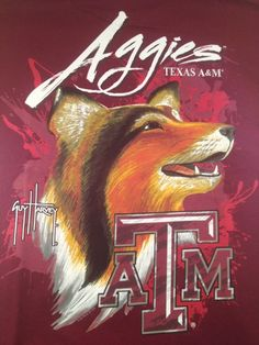 Men's Guy Harvey TEXAS A&M MAROON Aggies Collie Dog T-Shirt Tee College Licensed