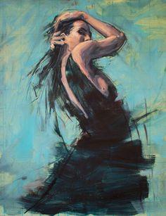 Black dress. oil 36 by 28inches. Jamel Akib