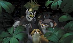 King Julian (far right) and Mort the lemur (center) in the animated film Madagascar Madagascar Movie, Penguins Of Madagascar, Central Park, King Julien, Cedric The Entertainer, Jungle Boogie, Animation 3d, Penguin Animals, Dreamworks Movies