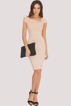 CREASE MIDI DRESS NUDE   HulaLoop Fashion Over 50, Fashion Show, Fashion Design, Collar Dress, Peplum Dress, Dresses For Work, Formal Dresses, Plus Size Fashion, Autumn Fashion