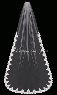 Cathedral Wedding Veil with Regal Partial Sequin Lace