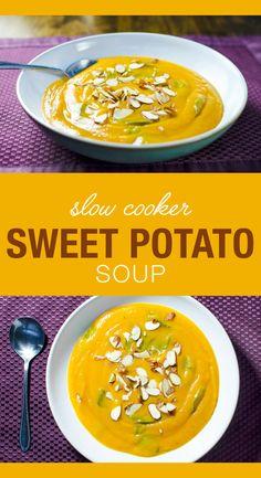 Slow Cooker Sweet Potato Soup | VeggiePrimer.com #vegan #glutenfree #soup #sweetpotatoes #slowcooker