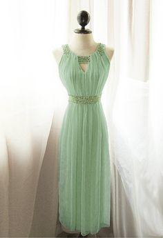 Egyptian Goddess Absinthe Mint Vineyard Green Chiffon Long Cocktail Prom Dress Angel Romantic Dreamy Old World Marie Antoinette Spring Gown// via Etsy.