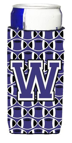 Letter W Football Purple and White Ultra Beverage Insulators for slim cans CJ1068-WMUK