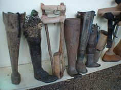 Prosthetics made by the people of Cambodia out of ubiquitous materials old and new. Cambodia has millions of unexploded land mines and amputees there have been known to make their own prosthetics out of wood and mortar shell casings. Let There Be Love, Land Mine, Cambodia Travel, Mobility Aids, My Beautiful Daughter, Medical History, Surreal Art, Old And New, Inventions