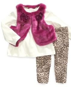ff365e32a0a66 FIRST IMPRESSIONS BABY SET, BABY GIRLS 3-PIECE FAUX-FUR VEST, TUNIC · Girls  Winter JacketsBaby ...