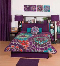 Purple Flowers Comforter Sheets Bedding Set