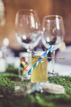 Jar Drink Favours Stripy Straw Twine Pink & Blue Alice in Wonderland Wedding http://www.clairepenn.com/