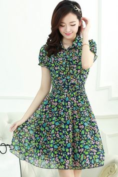 Nice Floral Chiffon Shirt Dress