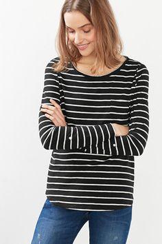 Esprit / Camiseta manga larga, encaje de ganchillo