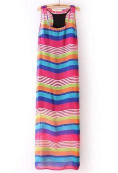 Red Blue Striped Rainbow Print Dress