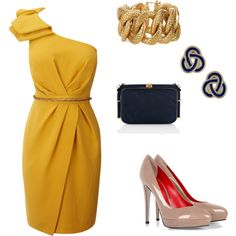 Cocktail Party Attire- not yellow, but love the cut of the dress