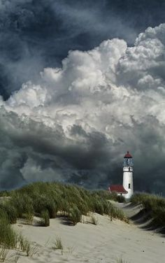 Lighthouse and storm clouds Storm Clouds, Sky And Clouds, All Nature, Amazing Nature, Places Around The World, Around The Worlds, Beautiful World, Beautiful Places, Beautiful Beach