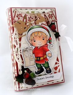 OCTOBER 2015 New Release Showcase Day 5! Box Card by Sandie Dunne featuring Christmas Elf Luka with List and these Dies - Snowflake Banner, Zig Zag Trim Banner, Fancy Doily Border, Santa Sleigh :-)  Shop now for all of our NEW stamps and Dies here - http://shop.lalalandcrafts.com/NEW_c16.htm Coloring details and more Design Team inspiration here - http://lalalandcrafts.blogspot.ie/2015/10/october-2015-new-release-showcase-day-5.html