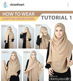 How to wear hijab pashmina 18 ideas Square Hijab Tutorial, Hijab Style Tutorial, Scarf Tutorial, Chiffon Hijab, Hijab Dress, Turban Hijab, How To Wear Hijab, How To Wear Scarves, Casual Hijab Outfit