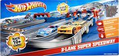 "HOT WHEELS 3 Lane Super Speedway includes 10 cars NEW racetrack plug in HUGE 62"""