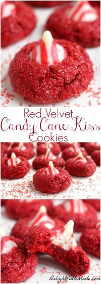 Red Velvet Candy Cane Kiss Cookies. With a pretty sparkle and topped with a #candycanekiss, these fabulous #holidaycookies will be the star of your holiday season. #Delightfulemade #Christmas