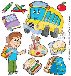 Royalty-Free (RF) Clipart Illustration of a Digital Collage Of A School Boy With A Bus And Items by visekart