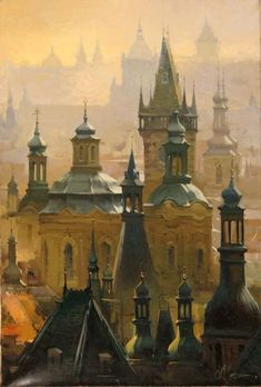 """City of Spires"" by Andrej Chernysh, a Ukrainian artist who frequently visits Prague which is the city portrayed here.  More of his work can be seen at The Roger Yost Gallery (http://rogeryostgallery.com/fine-art/andrej-chernysh/andrej-chernysh-art.htm)."