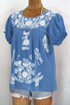"""""""La Mariposa Corta"""" Embroidered Mexican Style Peasant Top - Light Blue"""