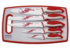 Tabla de cortar + 5 cuchillos revestidos de cerámica: Panero, Cocinero, Cocina, Uso general y Pelador. Color rojo con umotivo de ciervo.