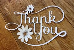 Thank You Paper Cut / Papercut Gift or Card Topper by StaceySansom