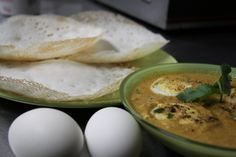 Appam and Egg curry- nothing can beat this combination Sri Lankan Recipes, Egg Curry, Indian Food Recipes, Menu, Eggs, Canning, Breakfast, Menu Board Design, Morning Coffee