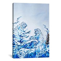 "Brayden Studio The Crashing Waves by Marc Allante Painting Print on Wrapped Canvas Size: 40"" H x 26"" W x 0.75"" D"
