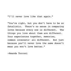I'll never love like that again.