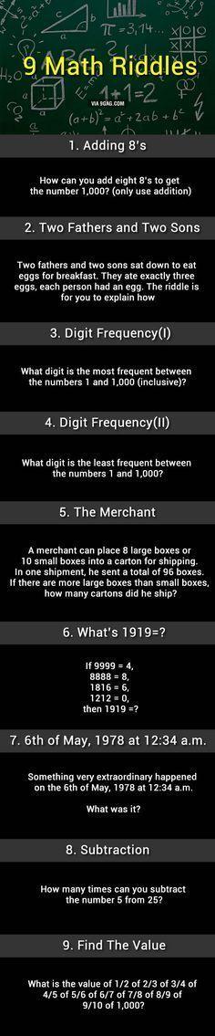 9 Math Riddles, Can You Solve Them? #mathtutoring #mathtutoringideas