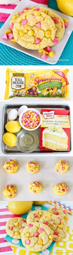 Lemon Cookies With Springtime Morsels The Effective Pictures We Offer You About Easter Recipes Ideas diy crafts A quality picture can tell you many th Desserts Ostern, Köstliche Desserts, Delicious Desserts, Dessert Recipes, Yummy Food, Spring Desserts, Easter Desserts, Tasty, Lemon Cookies