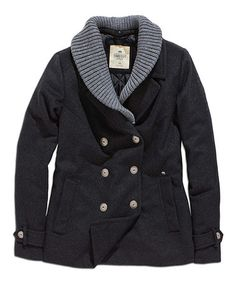Another great find on #zulily! Black & Gray Shawl Collar Wool-Blend Peacoat #zulilyfinds