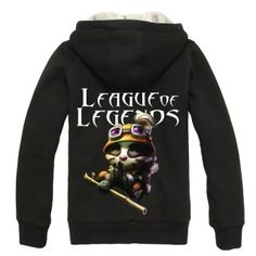 League black zip up hoodies mens sheep Fleece hooded sweatshirts LOL Teemo