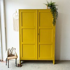 Furniture Update, Furniture Makeover, Diy Furniture, Wardrobe Furniture, Wardrobe Design Bedroom, Yellow Painted Furniture, Upcycled Furniture Before And After, Wardrobe Makeover, Vintage Wardrobe