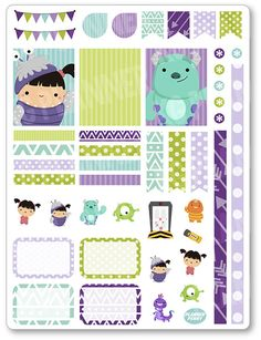Cute Girl and Monster Decorating Kit / Weekly Spread Planner Stickers for Erin Condren Planner, Filofax, Plum Paper                                                                                                                                                                                 Mais