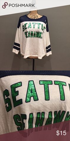 Seattle Seahawks Jersey Green glitter lettering. Fits large! NFL Team Apparel Tops Tees - Long Sleeve