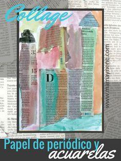 Collage infantil con hojas de papel periódico y acuarelas-mamaynene