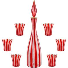 Murano Red White Zanfirico Ribbons Italian Art Glass Decanter Shot Glasses Set   From a unique collection of antique and modern vases and vessels at https://www.1stdibs.com/furniture/decorative-objects/vases-vessels/