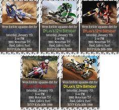 Print Your Own Kickin' Dirt Motocross Dirt Bike Birthday Invitations Options   eBay