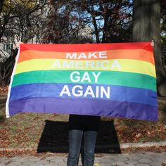 "Awesome ""Make America Gay Again"" flag from Drumpf.WTF  10% off all profits benefit charitable groups such as the Trevor Project. A perfect way to show not only your pride, but also your resistance against the Trump administration."